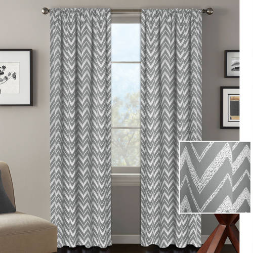 Better Homes and Gardens Textured Chevron Room Darkening Curtain Panel by Colordrift LLC