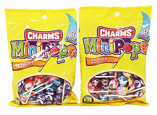 2-Pack Mini Pops Charms Suckers - Gluten Free, Assorted Flavors - Perfect for Parties, Goodie Bags, Shareable Bags