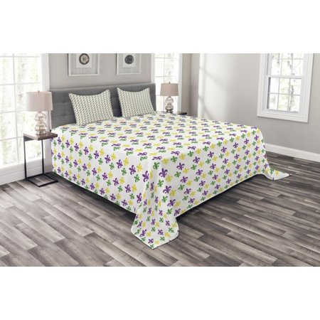 Mardi Gras Bedspread Set, Fleur De Lis in Mardi Gras Carnival Colors Ancient Festival Pattern, Decorative Quilted Coverlet Set with Pillow Shams Included, Green Yellow Purple, by - Mardi Gras King And Queen Costumes