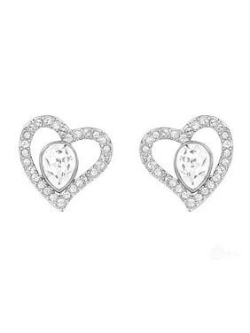 22eebd3a1 Product Image Clear Crystal Pierced Earrings Hearts NERINA Rhodium  #5101152. Swarovski