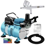 Master Airbrush Dual Fan Air Compressor System Kit, G23 Gravity Feed Dual-Action Airbrush, Hose, Holder, How-To Guide