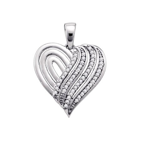 10kt White Gold Womens Round Diamond Striped Heart Love Pendant 1/6 Cttw