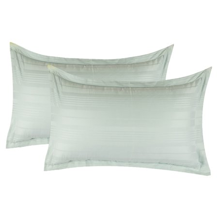 Just Linen 300 TC 100% Cotton Sateen Stripe, Silver Grey, Pack Of 2 Queen Pillow Cases