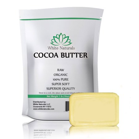 Organic Raw Cocoa Butter 1 lb, Unrefined, Pure, Natural, Food Grade, Perfect For Skin Care & Hair Care, All DIY Recipes,16 oz By White - White Continuing Care