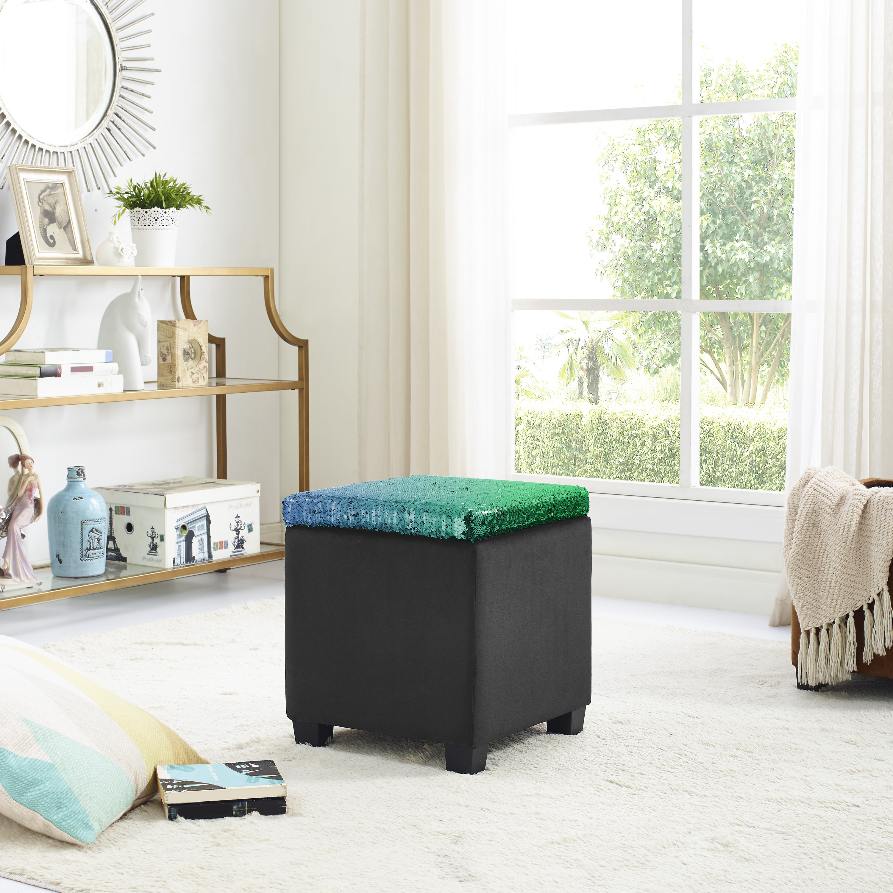 Mainstays Reversible Color Changing Sequin Storage Ottoman, Green/Black