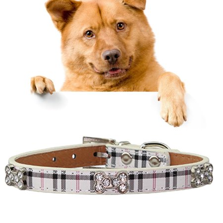 PU Leather with Bone Designs Pet Dog Collar Pet Products Size Large 2