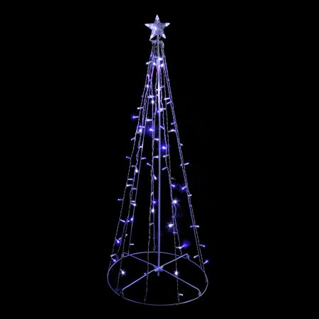 5' Blue and White LED Lighted Twinkling Show Cone Christmas Tree Outdoor