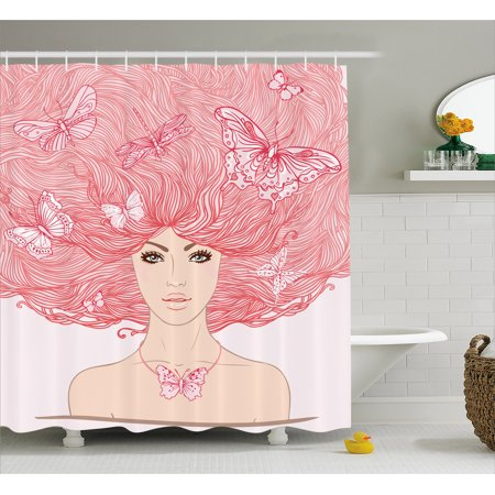 Pink Decor Shower Curtain, Sketchy Hand Drawn Girl with Butterflies in Her Long Pink Hair Illustration, Fabric Bathroom Set with Hooks, 69W X 70L Inches, Coral and White, by - Girls In Showers