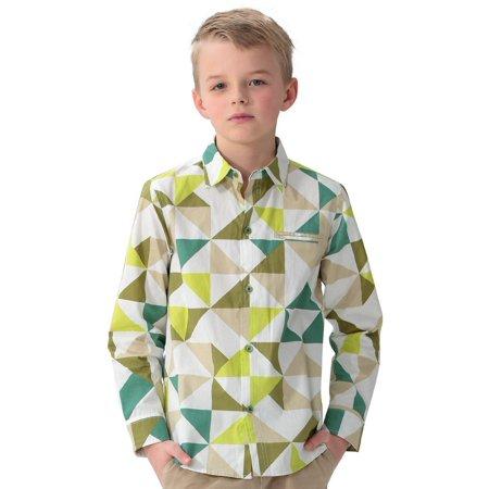 Leo&Lily Big boys' Fashion Casual England Classic Fine Poplin Print Check Woven (Poplin Classic Shirt)