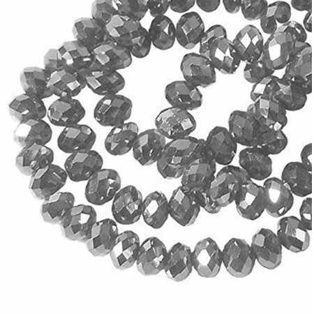 (Metallic Antique Silver Faceted 8mm Rondelle, Loose Beads, 70 Pc Glass Crystal, Loose Beads,)