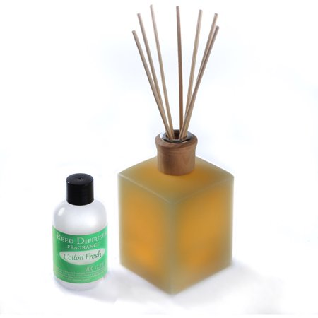 - CandleTEK Decor Fluted Flameless Candle Reed Diffuser, Cotton Fresh Scent
