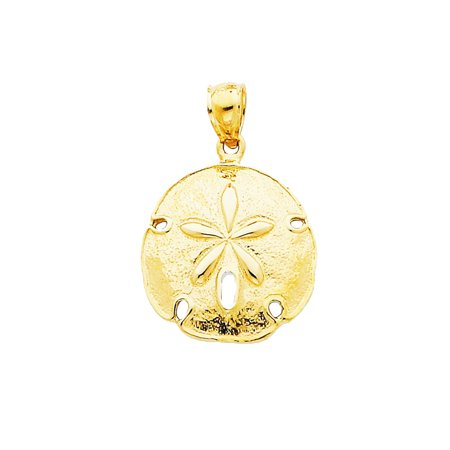 14K Yellow Gold Sand Dollar Charm Pendant   26Mm