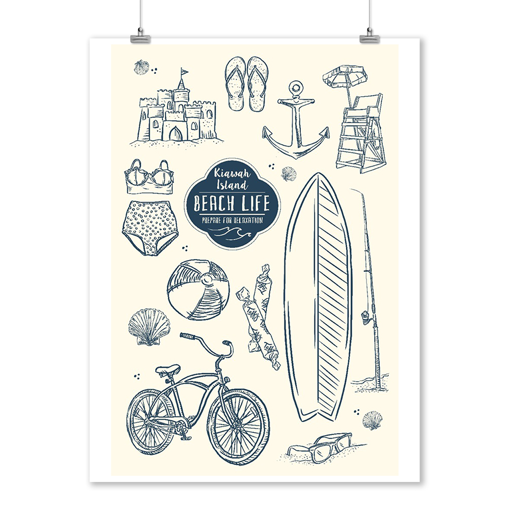 Kiawah Island, South Carolina - The Beach Life - Collage - Lantern Press Artwork (9x12 Art Print, Wall Decor Travel Poster)