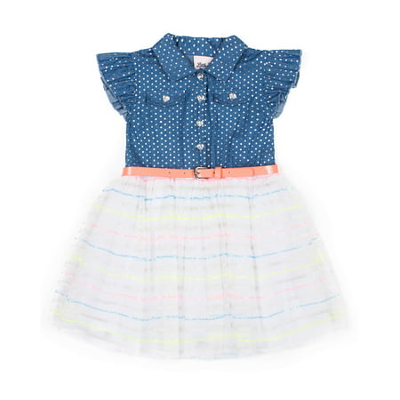 Foil Chambray and Tulle Dress (Little Girls) - Little Girl Dresses