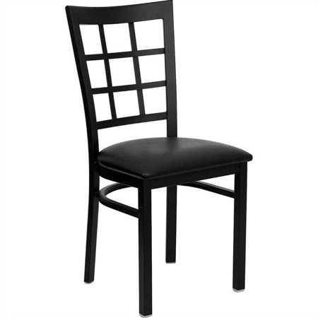 Bowery Hill Window Back Metal Dining Chair in Black