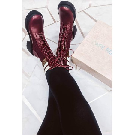 CAPE ROBBIN | ROBINHOOD BURGUNDY CHUNKY LOW HEEL TRACTION SOLE ABOVE ANKLE BOOT