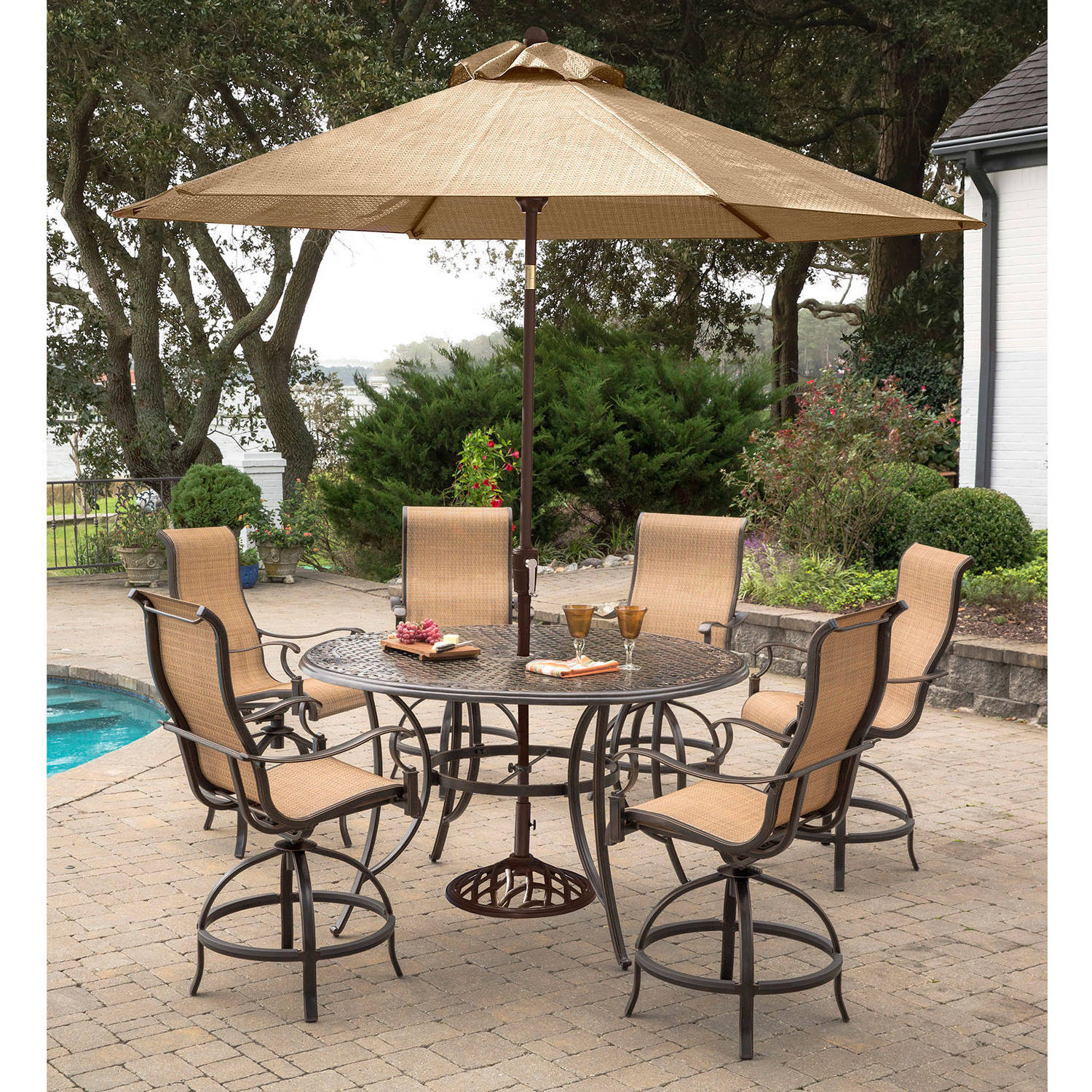 Hanover Manor 7-Piece Outdoor High-Dining Bar Set with Umbrella and Stand