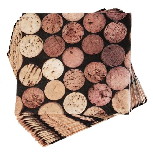 """True  by True Fabrications Wine Bottle Corks 5x5"""" Bright, Colorful Cocktail Napkins for Parties, Dinners, Bars"""