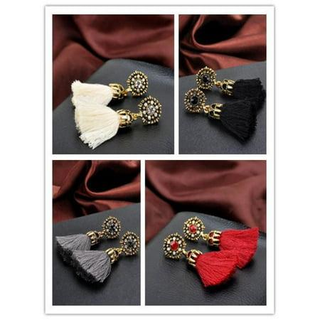 Vintage Style Rhinestones Crystal Tassel Dangle Stud Earrings Fashion Jewelry