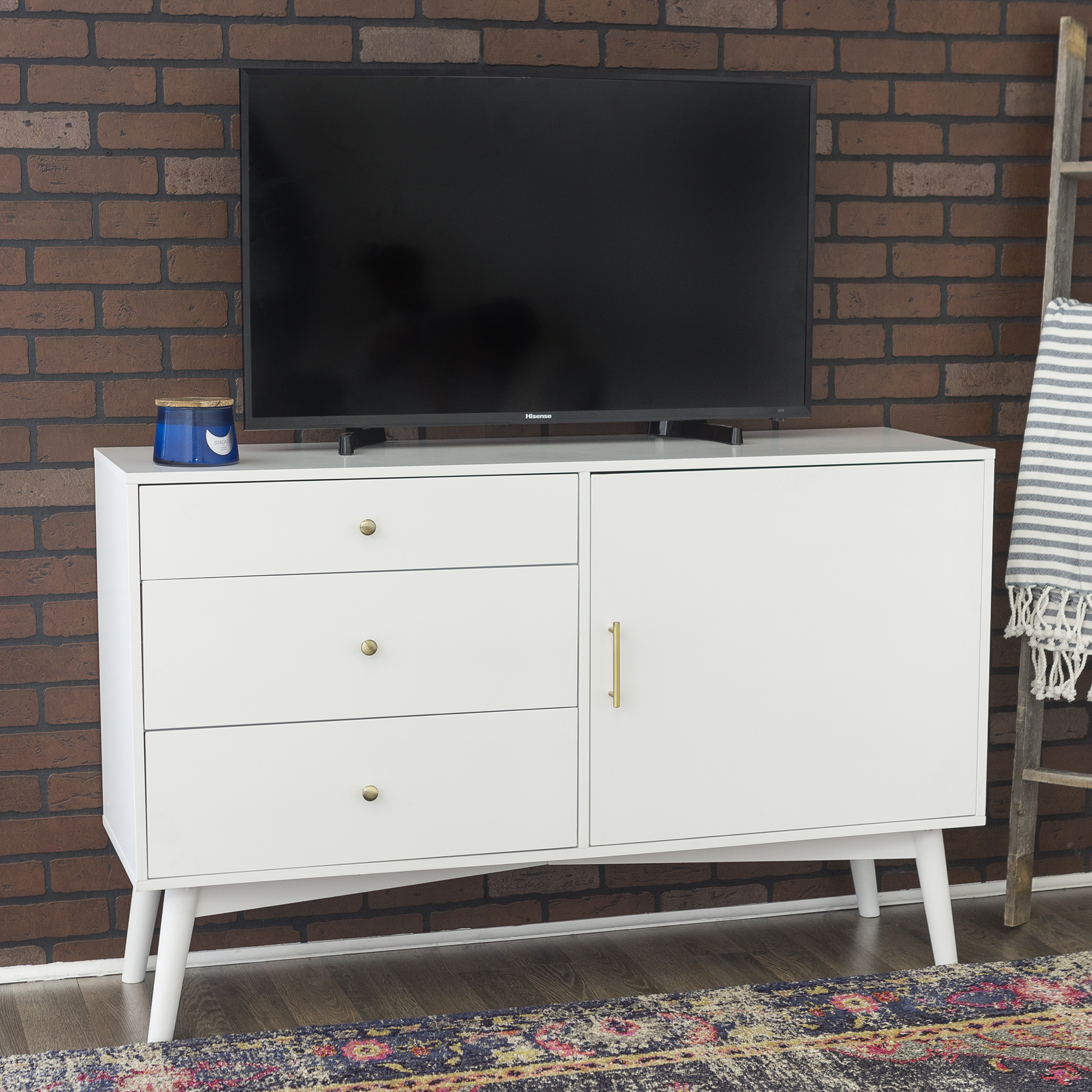 Angelo Home 52 Mid Century Tv Stand Storage Console Entertainment