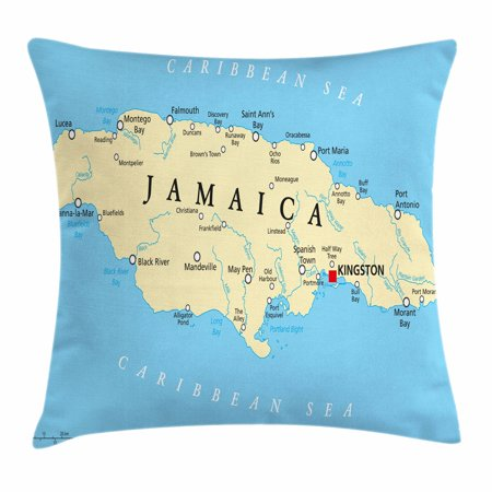 Jamaican Throw Pillow Cushion Cover, Map of Jamaica Kingston Caribbean Sea Important Locations in Country, Decorative Square Accent Pillow Case, 16 X 16 Inches, Pale Blue Beige Black, by Ambesonne