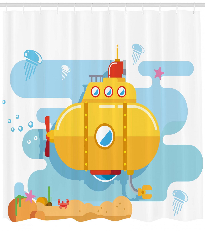 Yellow Submarine Shower Curtain Aqua Art Fish Print for Bathroom