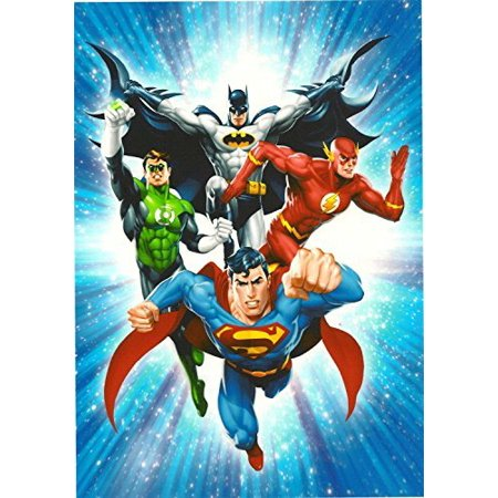 Justice League Superman Flash Green Lantern Batman Edible Image Photo 1 4 Quarter Sheet Cake Topper Personalized Custom Customized Birthday Party