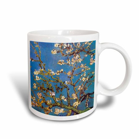 3dRose Almond Blossoms by Vincent van Gogh 1890 - famous fine art by masters white flower branches on blue, Ceramic Mug, 15-ounce