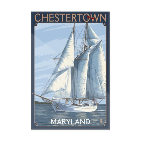 Chestertown, Maryland - Schooner Sailboat Scene - Lantern Press Poster (8x12 Acrylic Wall Art Gallery Quality)