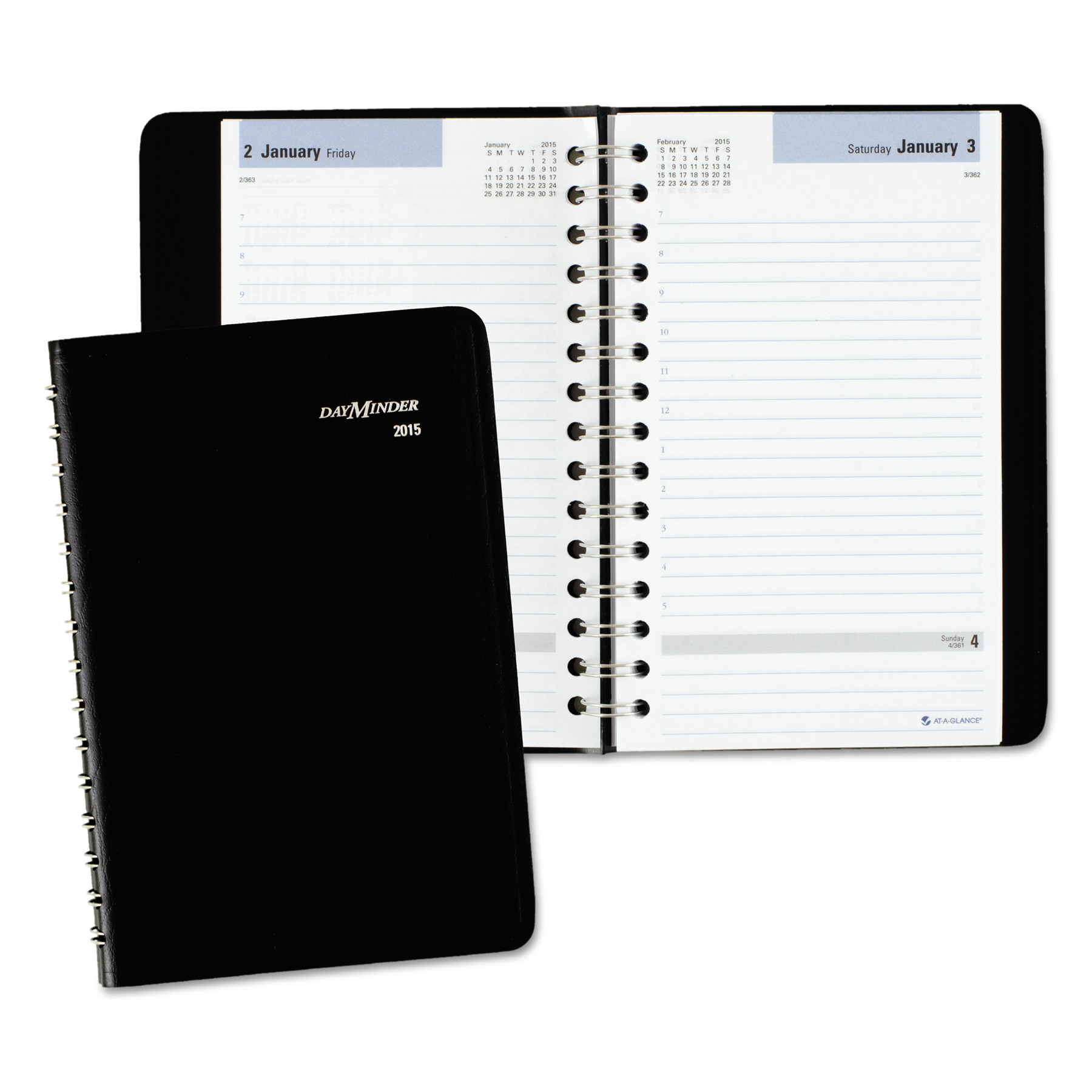 AT-A-GLANCE DayMinder Daily Appointment Book with Hourly Appointments, 8 x 4 7 8, Black, 2018 by AT-A-GLANCE