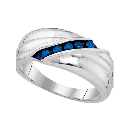 Sterling Silver Mens Round Blue Color Enhanced Diamond Wedding Anniversary Band Ring 1/3 - Wedding Anniversary Colors
