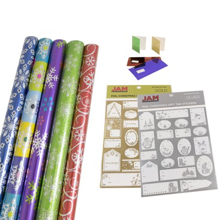 JAM Paper Gift Wrapping Bundle, Vibrant Snowflakes, 5 Rolls of Wrapping Paper (125 sq ft) / 2 Pack of Name Labels / 1 Pack of Gift (125 Gift)