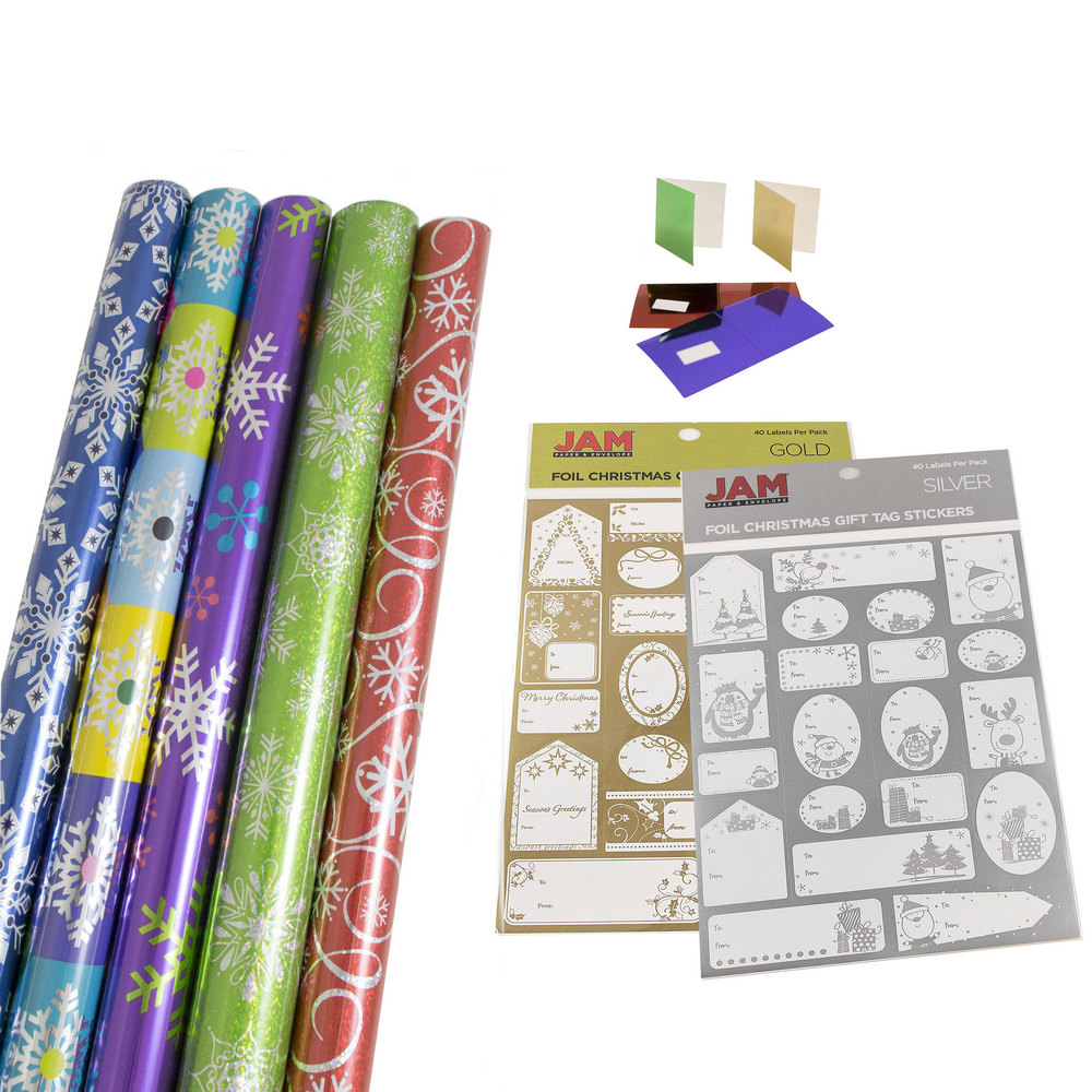 JAM Paper Gift Wrapping Bundle, Vibrant Snowflakes, 5 Rolls of Wrapping Paper (125 sq ft) / 2 Pack of Name Labels / 1 Pack of Gift Tags