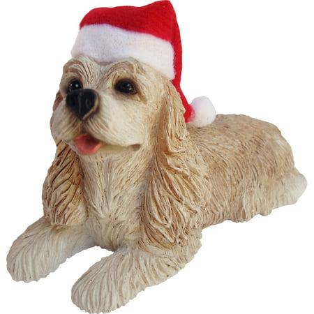 Sandicast Lying Buff Cocker Spaniel with Santa's Hat Christmas Dog (Cowboy Hat Christmas Ornament)