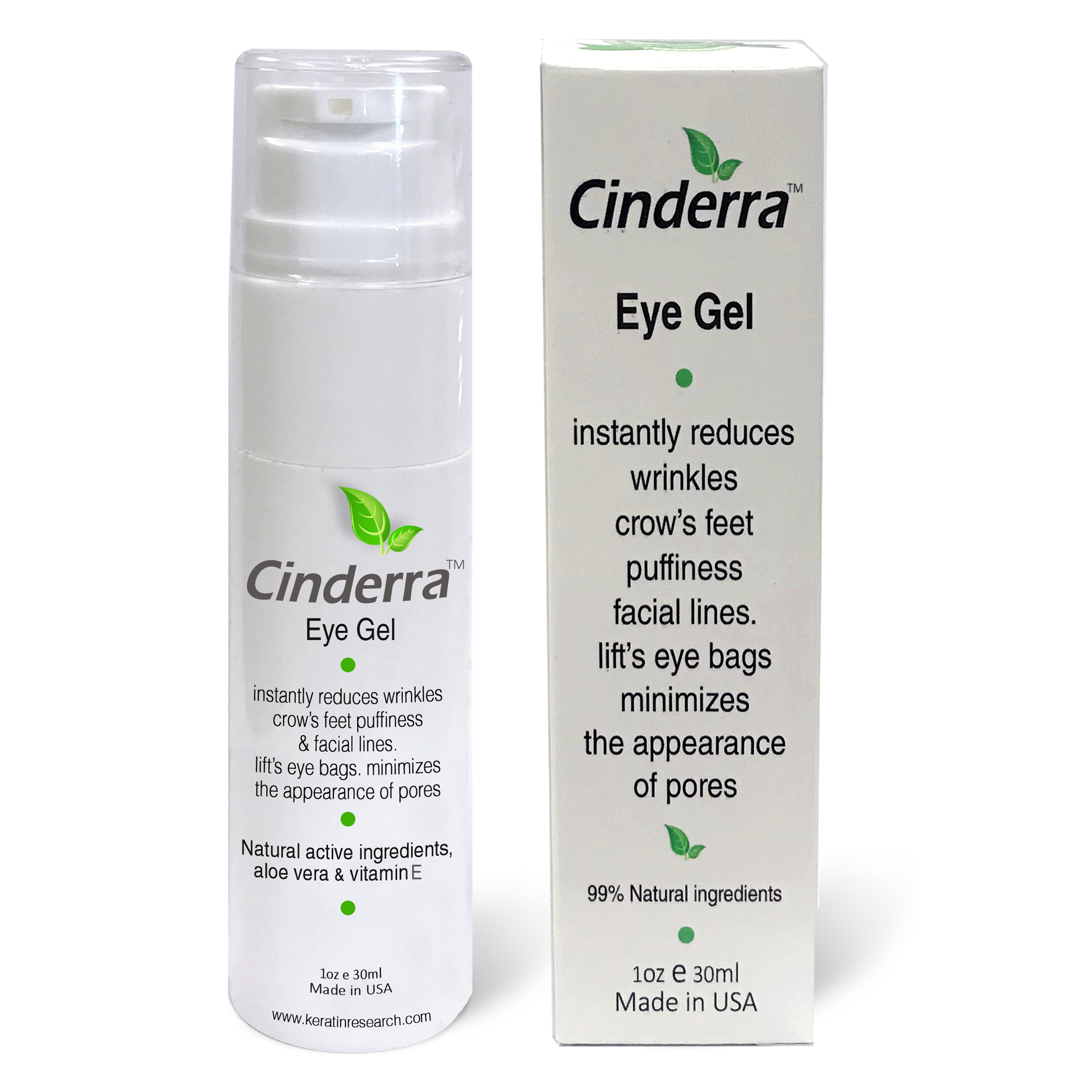Cinderra Eye Gel 30ml Instantly Reduces Wrinkles Crow's Feet Puffiness & Facial Lines Lift's Eye Bags Minimizes the Appearance of Pores, Works with Makeup Natural Ingredients Ageless Look