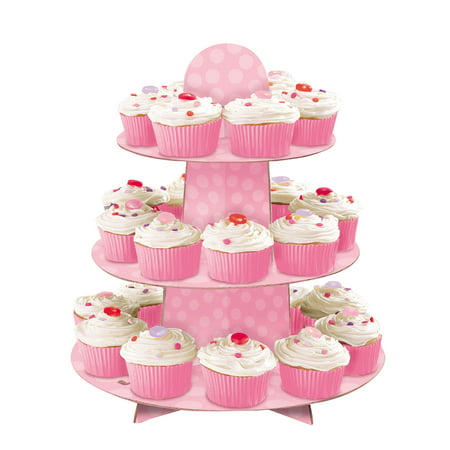 Pink Cardboard Cupcake Stand, 1.1ft x 11.75in - Cardboard Cake Stand