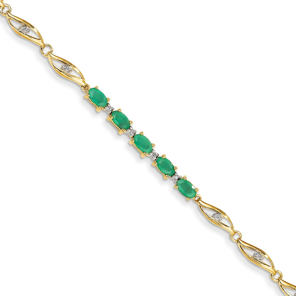 14k Yellow Gold Diamond & Emerald Oval Bracelet Carat Wt- 0.02ct. Gem Wt- 1.3ct