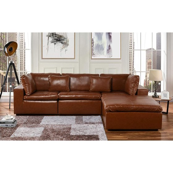 Large Leather Sectional Sofa, L Shape Couch with Wide Chaise (Black)