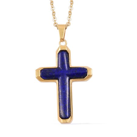Hope Faith Trust Religious Prayer Cross Chain Pendant Necklace Yellow Gold Lapis Lazuli ION Plated for Women 20