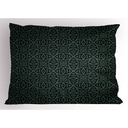 Printed Floral Circle (Dark Grey Pillow Sham Medieval Folkloric Ornament Celtic Pattern Vintage Style Abstract Floral Circles, Decorative Standard Size Printed Pillowcase, 26 X 20 Inches, Black Grey, by Ambesonne)