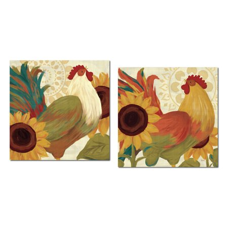 Colorful Bohemian Rooster and Sunflower Set by Veronique Charron; Country Decor; Two 12x12in Poster Prints - Diy Bohemian Decor