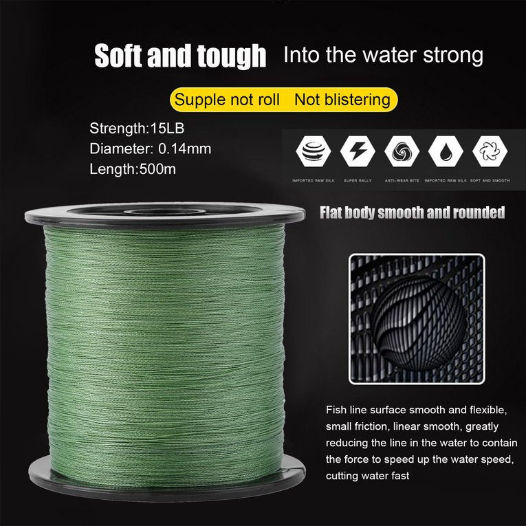 500M Super Strong PE Braided Fishing Line 4 Strands Weaves Fish Rope 15LB Multifilament Fishing Line Fishig Accessories by