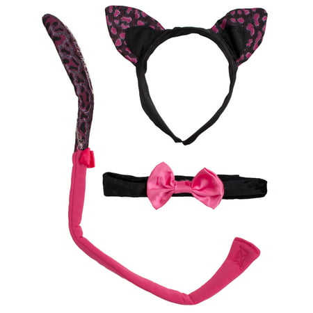 Halloween Cat Tail And Ears 3pc Costume Accessory Set Pink One Size