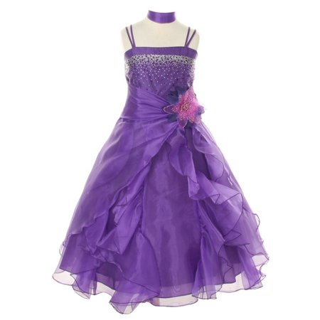 Cinderella Couture Girls Purple Crystal Organza Cascade Ruffle Dress 8-14