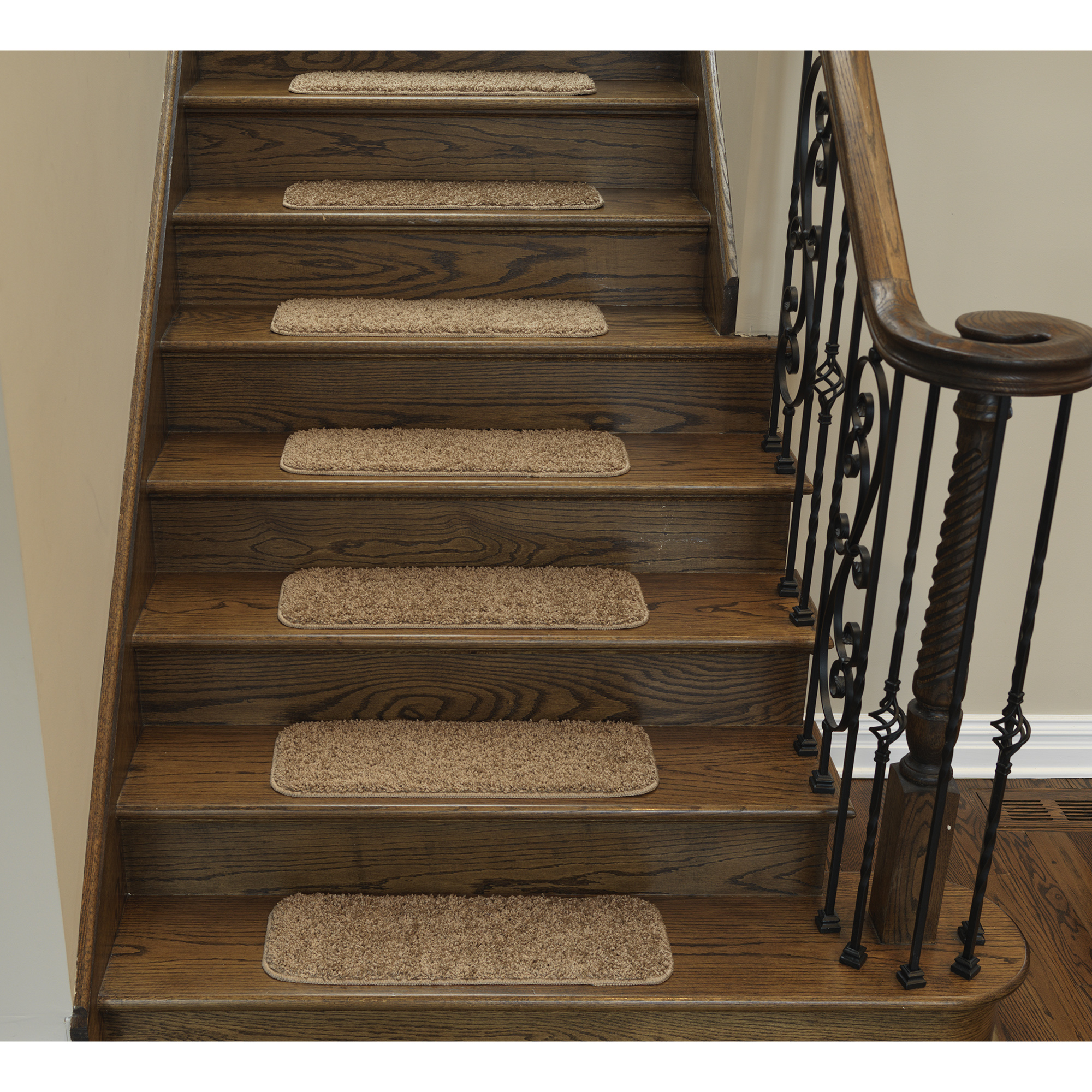 "Ottomanson Comfort Collection Soft Solid Non-Slip Plush Carpet Stair Treads, 5 Pack, 9"" x 26'"