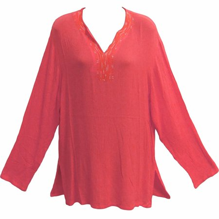 Indian Coral (Womens Coral Indian Bohemian Crinkled Gauze Cotton Tunic Blouse Kurti - Medium )