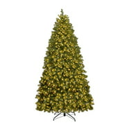 Costway 6FT/7FT/8Ft Pre-Lit PVC Christmas Tree Spruce Hinged 560/700/880 Lights