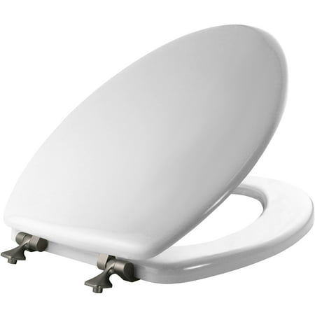 Mayfair Elongated Enameled Wood Toilet Seat in White with Brushed Nickel Hinge ()