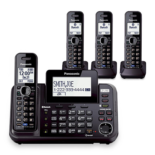 Panasonic KX-TG9544B DECT 6.0 Plus 2-Line Operation 4 Handset Cordless Phone Bluetooth LinkToCell by Panasonic