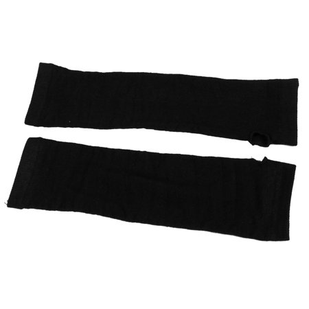 Unique Bargains Pair Black Elastic Cuff Fingerless Elbow Long Gloves Arm Warmers for Women's - Black Arm Warmers